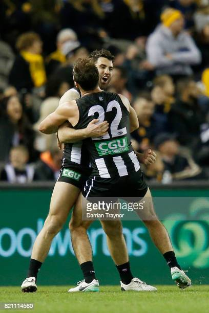 Alex Fasolo of the Magpies celebrates kicking the final goal during the round 18 AFL match between the Collingwood Magpies and the West Coast Eagles...