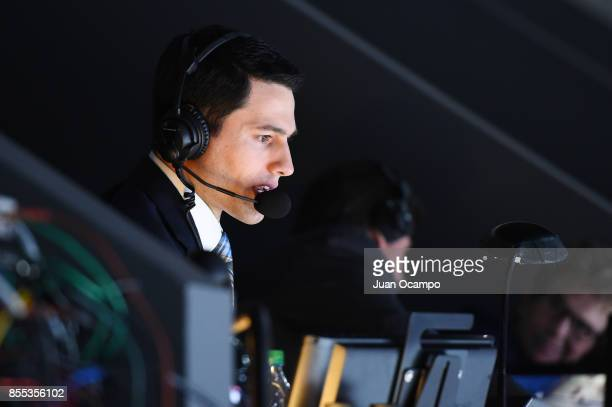 Alex Faust makes his debut as the Los Angeles Kings TV PlaybyPlay Announcer during a game between the Arizona Coyotes and the Los Angeles Kings at...
