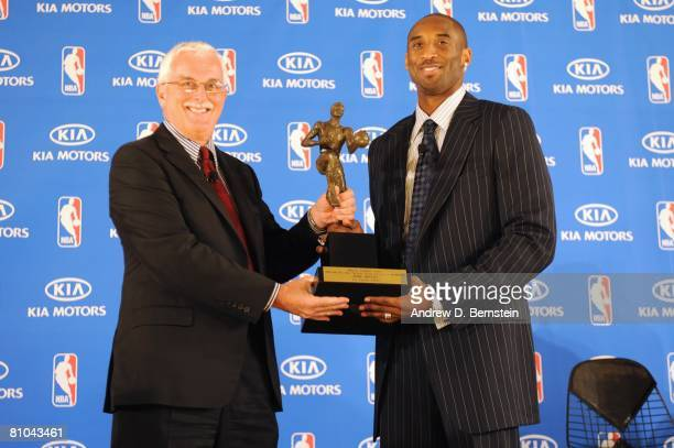 Alex Fedorak of Kia Motors presents Kobe Bryant of the Los Angeles Lakers with the MVP award during the 200708 NBA Most Valuable Player Award press...