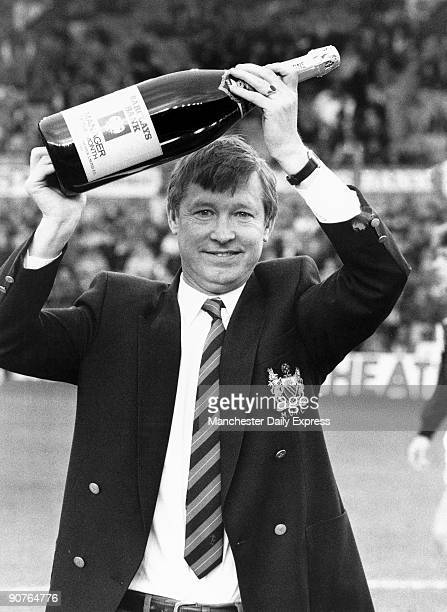 Alex Ferguson and his Manager of the Month award for January at a match between his team Manchester United and Tottenham Hotspur. Scottish footballer...