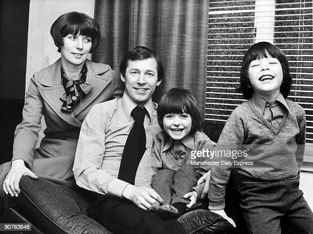 Alex Ferguson British football manager with wife Cathy and twins Jason and Darren Scottish footballer Ferguson played for St Johnstone Dunfermline...