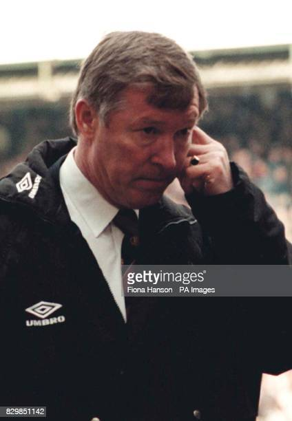 Alex Ferguson manager of Manchester United in thought at half time during his teams match against Southampton which they lost 31 at the Dell