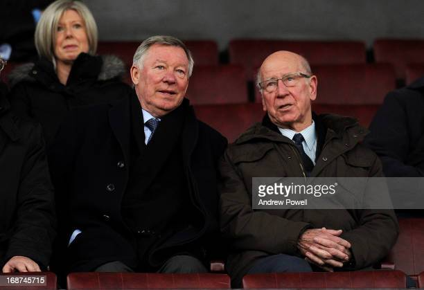 Alex Ferguson manager of Manchester United watches from the stands with Bobby Charlton during the Barclays Under-21 Premier League Elite Group Semi...