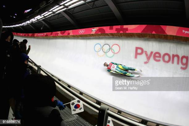 Alex Ferlazzo of Australia slides in run 3 during the Luge Men's Singles on day two of the PyeongChang 2018 Winter Olympic Games at Olympic Sliding...