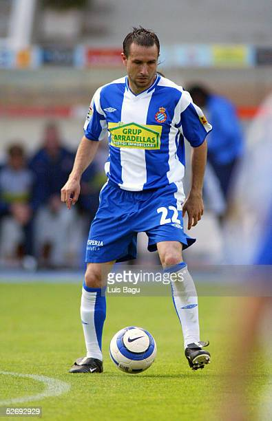 Alex Fernandez of Espanyol in action during the La Liga match between RCD Espanyol and Real Zaragoza on April 24 2005 at Lluis Companys stadium in...