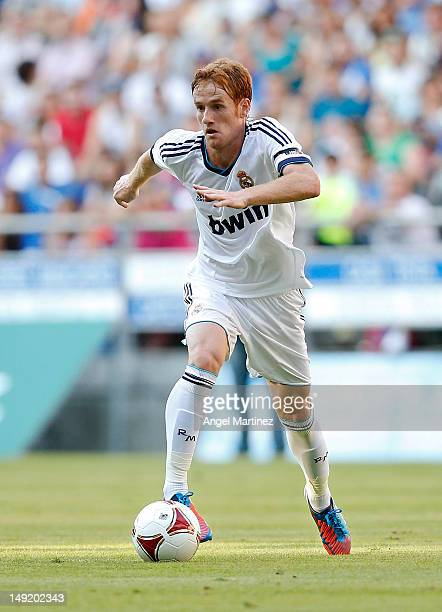 Alex Fernandez of Real Madrid in action during the preseason friendly match between Real Oviedo and Real Madrid at Carlos Tartiere stadium on July 24...