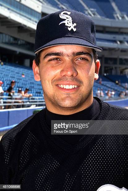 Alex Fernandez of the Chicago White Sox looks on prior to a Major League Baseball game against the New York Yankees circa 1991 at Yankee Stadium in...
