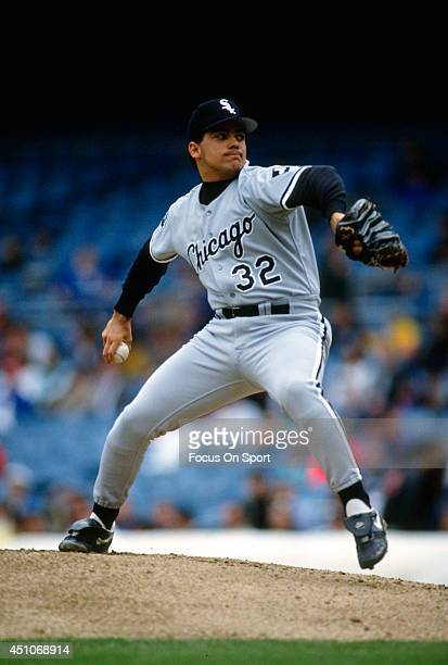 Alex Fernandez of the Chicago White Sox pitches against the New York Yankees during an Major League Baseball game circa 1991 at Yankee Stadium in the...