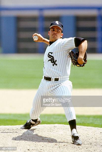 Alex Fernandez of the Chicago White Sox pitches during an Major League Baseball game circa 1991 at Comiskey Park in Chicago Illinois Fernandez played...
