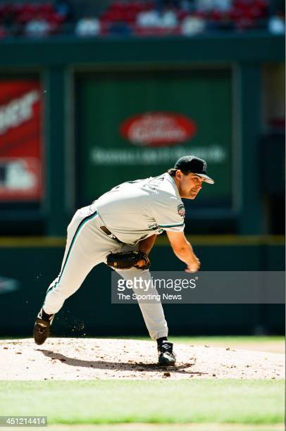 Alex Fernandez of the Florida Marlins pitches against the St Louis Cardinals at Busch Stadium on May 1 1997 in St Louis Missouri The Cardinals...