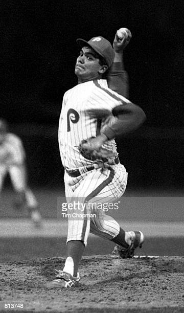 Alex Fernandez pitcher for the Florida Marlins pitching for Pace High School in Miami April 29 1988