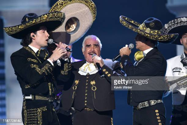 Alex Fernández, Vicente Fernandez and Alejandro Fernández perform onstage during the 20th annual Latin GRAMMY Awards at MGM Grand Garden Arena on...