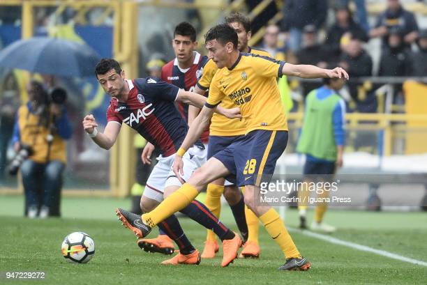 Alex Ferrari of Hellas Verona FC in action during the serie A match between Bologna FC and Hellas Verona FC at Stadio Renato Dall'Ara on April 15...