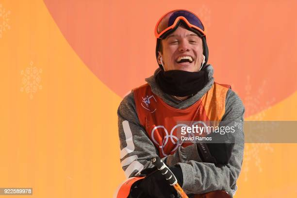 Alex Ferreira of the United States reacts to his score during the Freestyle Skiing Men's Ski Halfpipe Final on day thirteen of the PyeongChang 2018...