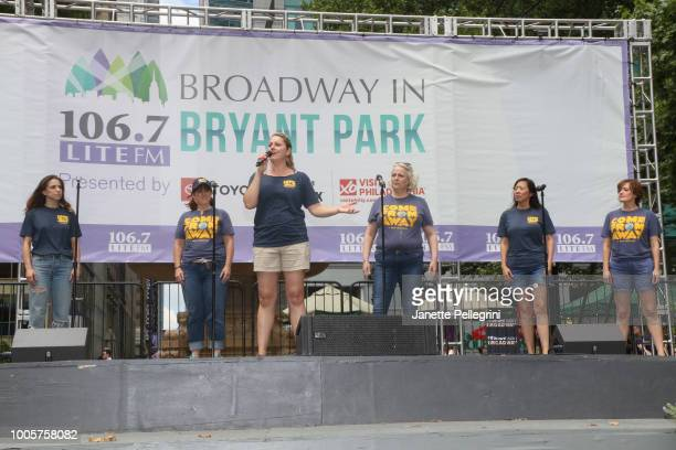 Alex Finke Sharon Wheatley Julie Reiber Astrid Van Wieren Pearl Sun and Petrina Bromley from the cast of 'Come From Away' performs at 1067 LITE FM...