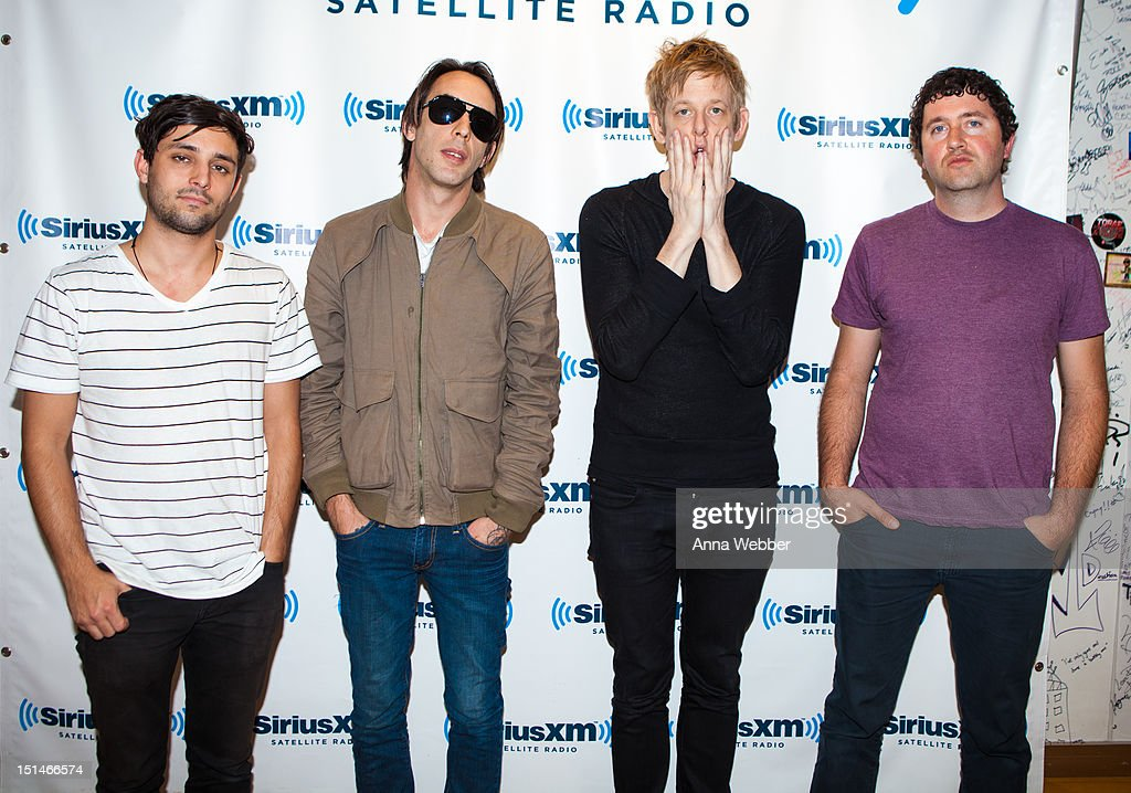 Alex Fischel, Dan Boeckner, Britt Daniel and Sam Brown of Divine Fits visit SiriusXM studio on September 7, 2012 in New York City.