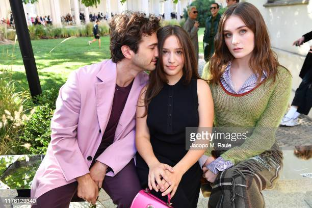 Alex Fitzalan, Gideon Adlon and Grace Victoria Cox attend the Salvatore Ferragamo show during Milan Fashion Week Spring/Summer 2020 on September 21,...