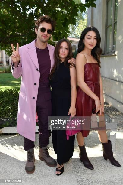 Alex Fitzalan Gideon Adlon and Natasha Bordizzo attend the Salvatore Ferragamo show during Milan Fashion Week Spring/Summer 2020 on September 21 2019...