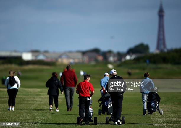 Alex Fitzpatrick and partner Thomas Plumb of England make their way down the first hole during the morning foursomes in the Boys Home Internationals...