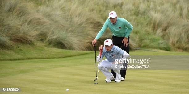 Alex Fitzpatrick and Toby Briggs of GB I during the morning foursomes matches as the Jacques Leglise Trophy golf tournament between GB Ireland versus...