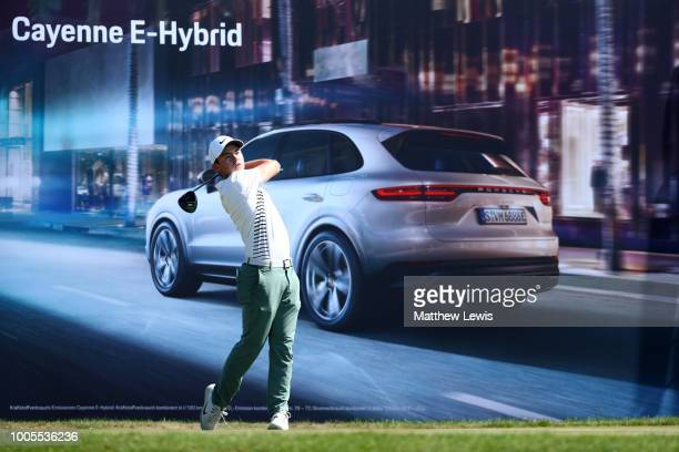 Alex Fitzpatrick of England tees off on the 16th hole during day one of Porsche European Open at Green Eagle Golf Course on July 26 2018 in Hamburg...