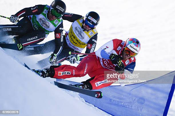 Alex Fiva of Switzerland takes 1st place Bastien Midol of France competes Sebastien Lepage of France competes during the FIS Freestyle Ski World Cup...