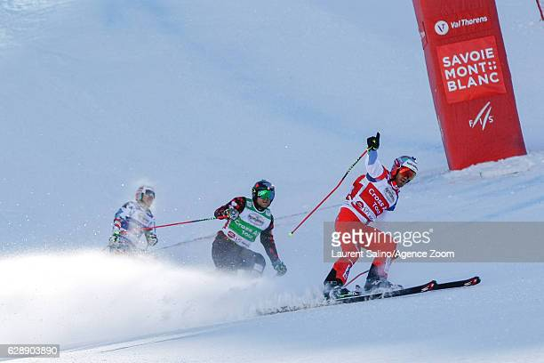 Alex Fiva of Switzerland takes 1st place Brady Leman of Canada takes 2nd place during the FIS Freestyle Ski World Cup Men's and Women's Ski Cross on...