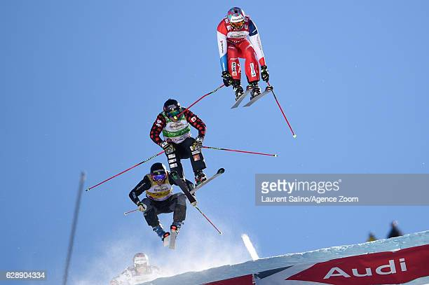 Alex Fiva of Switzerland takes 1st place Brady Leman of Canada takes 2nd place Viktor Andersson of Sweden takes 3rd place during the FIS Freestyle...