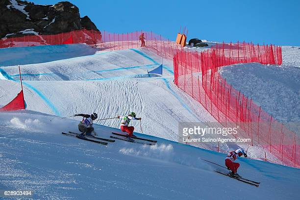 Alex Fiva of Switzerland takes 1st place Sebastien Lepage of France competes Armin Niederer of Switzerland competes during the FIS Freestyle Ski...