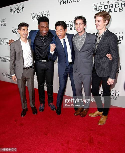Alex Flores Dexter Darden Hi Kong Lee Dylan O'Brien and Thomas BrodieSangster attends 'Maze Runner The Scorch Trials' New York Premiere at Regal...