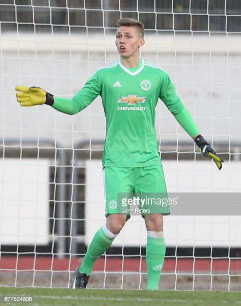 Alex Fojticek of Manchester United U19s in action during the UEFA Youth League match between FC Basel U19s and Manchester United U19s at...