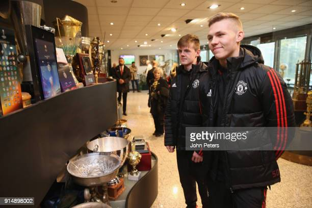 Alex Fojticek of Manchester United U19s visits the Partizan Belgrade museum in memory of the victims of the Munich Air Disaster on the 60th...