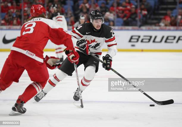 Alex Formenton of Canada skates the puck up ice against Malte Setkov of Denmark during the third period of play in the IIHF World Junior...