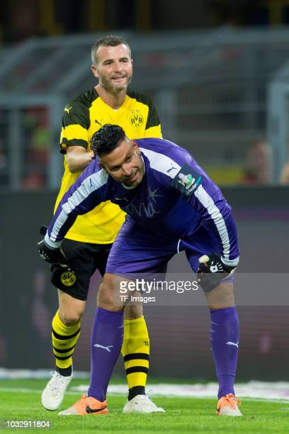 Alex Frei of Borussia Dortmund Allstars and Goalkeeper Tim Wiese of Roman and Friends lloks on during the Roman Weidenfeller Farewell Match between...