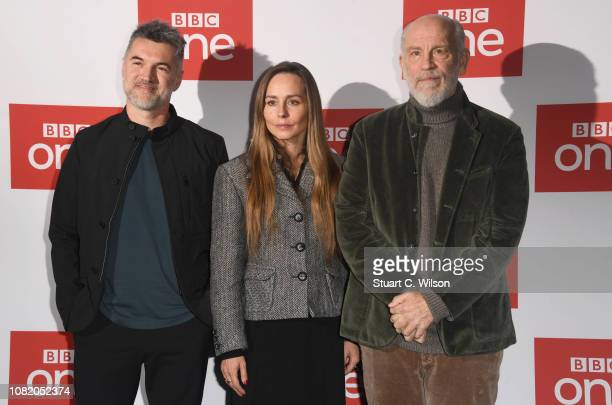 Alex Gabassi Tara Fitzgerald and John Malcovich attend a screening of The ABC Murder at BFI Southbank on December 13 2018 in London England