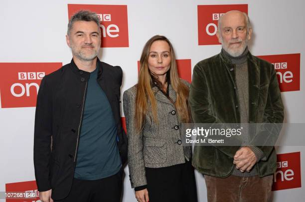 Alex Gabassi Tara Fitzgerald and John Malkovich attend a special screening of new BBC One drama 'The ABC Murders' at the BFI Southbank on December 13...