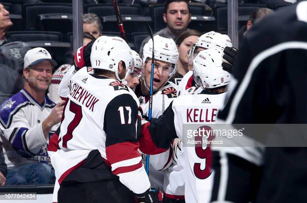 Alex Galchenyuk Nick Schmaltz Jakob Chychrun and Clayton Keller of the Arizona Coyotes celebrate Schmaltz' secondperiod goal during the game at...