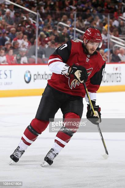 Alex Galchenyuk of the Arizona Coyotes in action during the NHL game against the Vancouver Canucks at Gila River Arena on October 25 2018 in Glendale...