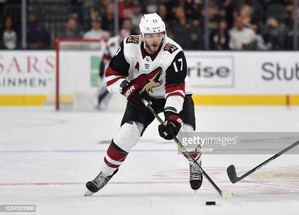 Alex Galchenyuk of the Arizona Coyotes skates during the second period against the Vegas Golden Knights during a preseason game at TMobile Arena on...