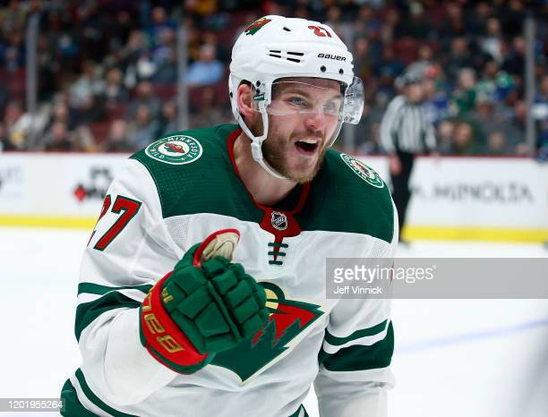 Alex Galchenyuk of the Minnesota Wild celebrates after scoring during their NHL game against the Vancouver Canucks at Rogers Arena February 19, 2020...