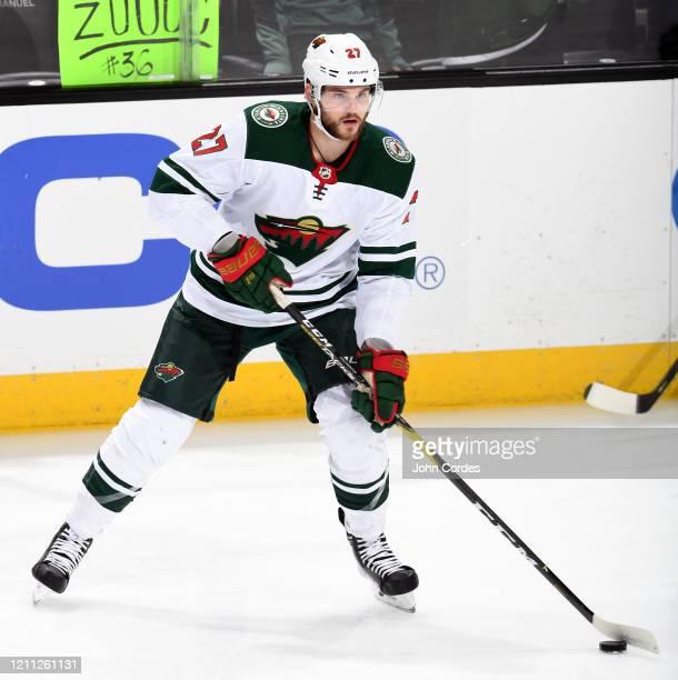 Alex Galchenyuk of the Minnesota Wild skates in warm-ups prior to the game against the Anaheim Ducks at Honda Center on March 8, 2020 in Anaheim,...