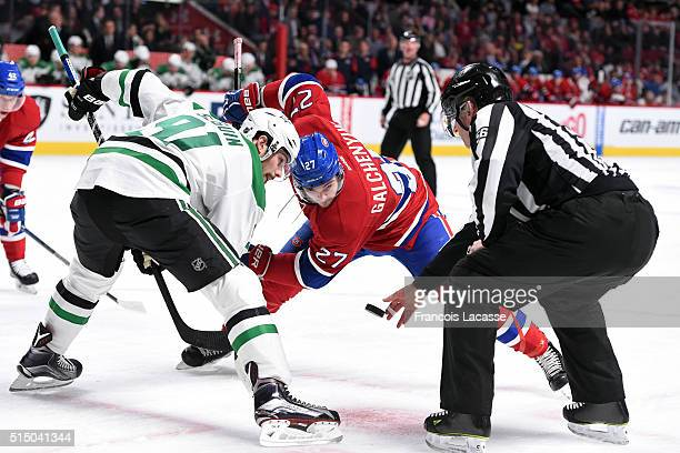 Alex Galchenyuk of the Montreal Canadiens and Tyler Seguin of the Dallas Stars face off in the NHL game at the Bell Centre on March 8 2016 in...
