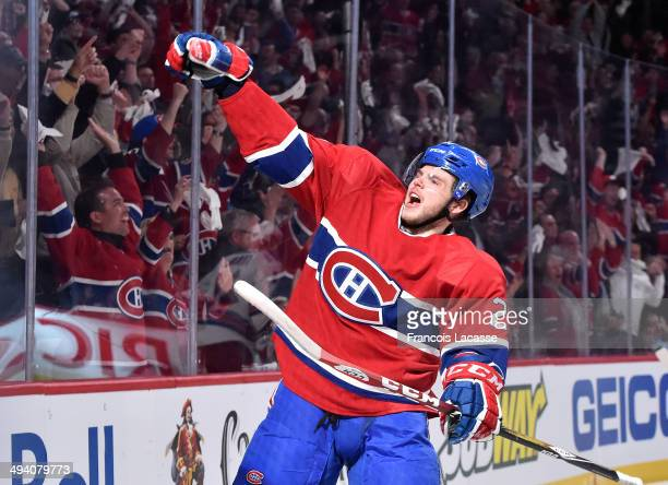 Alex Galchenyuk of the Montreal Canadiens celebrates after scoring the first goal against the New York Rangers in the first period in Game Five of...