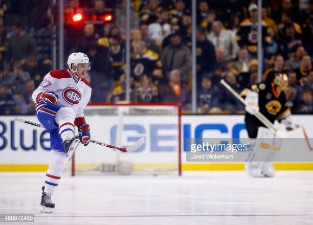 Alex Galchenyuk of the Montreal Canadiens celebrates his gamewinning goal in a shootout against the Boston Bruins during the game at TD Garden on...