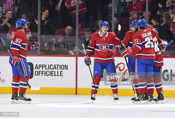 Alex Galchenyuk of the Montreal Canadiens celebrates with teammates after scoring a goal against the Colorado Avalanche in the NHL game at the Bell...