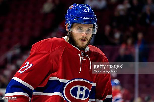 Alex Galchenyuk of the Montreal Canadiens looks on during the warmup prior to the NHL game against the Arizona Coyotes at the Bell Centre on October...