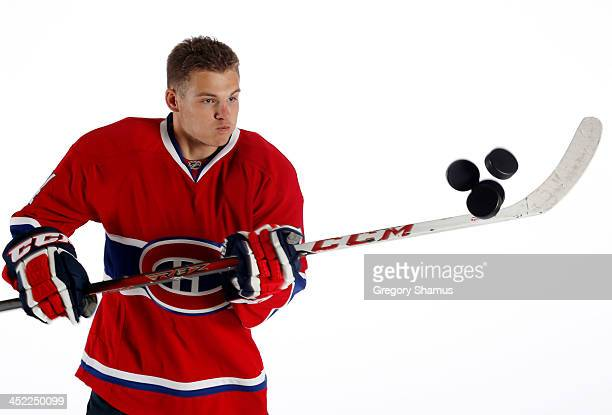 Alex Galchenyuk of the Montreal Canadiens poses for an NHLPA The Players Collection portrait at The Westin Harbour Castle hotel on August 27 2012 in...