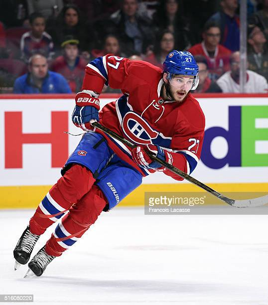 Alex Galchenyuk of the Montreal Canadiens skates against the Minnesota Wild in the NHL game at the Bell Centre on March 12 2016 in Montreal Quebec...