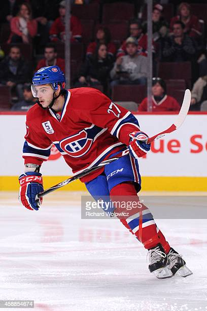 Alex Galchenyuk of the Montreal Canadiens skates during the NHL game against the Minnesota Wild at the Bell Centre on November 8 2014 in Montreal...