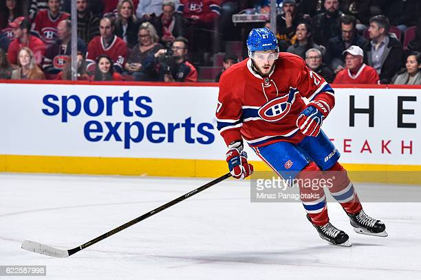 Alex Galchenyuk of the Montreal Canadiens skates during the NHL game against the Boston Bruins at the Bell Centre on November 8 2016 in Montreal...
